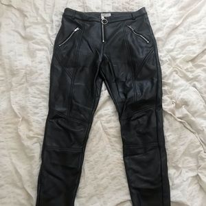 Topshop O Ring Zip Leather Leggings
